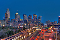 Philadelphia PA, skyline, reflections, View, Schuylkill, Expressway, USA