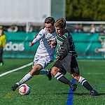 3 October 2015: University of Vermont Catamount Midfielder Gideon Rosenthal, a Senior from Bronx, NY, battles Binghamton University Bearcat Midfielder Harrison Weilbacher, a Freshman from Lake Ronkonkoma, NY, during game action at Virtue Field in Burlington, Vermont. The Catamounts were unable to complete a late game rally, falling to the Bearcats 2-1 in America East conference play. Mandatory Credit: Ed Wolfstein Photo *** RAW (NEF) Image File Available ***