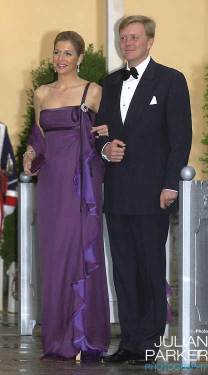 Crown Prince Willem-Alexander & Crown Princess Maxima of Holand attend a Gala Dinner at the El Pardo Royal Palace in Madrid..Picture: UK Press