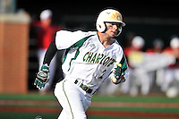 Center fielder Reece Hampton (2) of the Charlotte 49ers runs out a ball in a game against the Fairfield Stags on Saturday, March 12, 2016, at Hayes Stadium in Charlotte, North Carolina. (Tom Priddy/Four Seam Images)