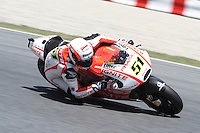 15.06.2013 Barcelona, Spain. Aperol  Catalonia Grand Prix. Picture show Micele Piro ridding Ducati during MotoGP qualifyng at Circuit de Catalunya