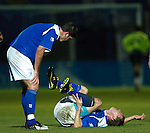 Stevie Tosh in agony on the pitch