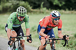 Green Jersey Peter Sagan (SVK) Bora-Hansgrohe and Vincenzo Nibali (ITA) Bahrain-Merida are the first attackers during Stage 14 of the 2019 Tour de France running 117.5km from Tarbes to Tourmalet Bareges, France. 20th July 2019.<br /> Picture: ASO/Pauline Ballet | Cyclefile<br /> All photos usage must carry mandatory copyright credit (© Cyclefile | ASO/Pauline Ballet)