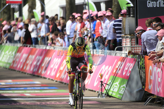 Daniel Martinez (COL) Wilier Triestina-Southeast crosses the finish line of Stage 1 of the 2016 Giro d'Italia, an individual time trial of 9.8km around Apeldoorn, The Nethrerlands. 6th May 2016.<br /> Picture: Eoin Clarke | Newsfile<br /> <br /> <br /> All photos usage must carry mandatory copyright credit (&copy; Newsfile | Eoin Clarke)