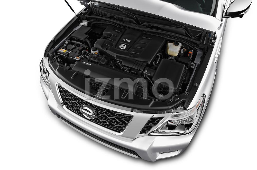 Car Stock 2017 Nissan Armada Platinum 5 Door SUV Engine  high angle detail view