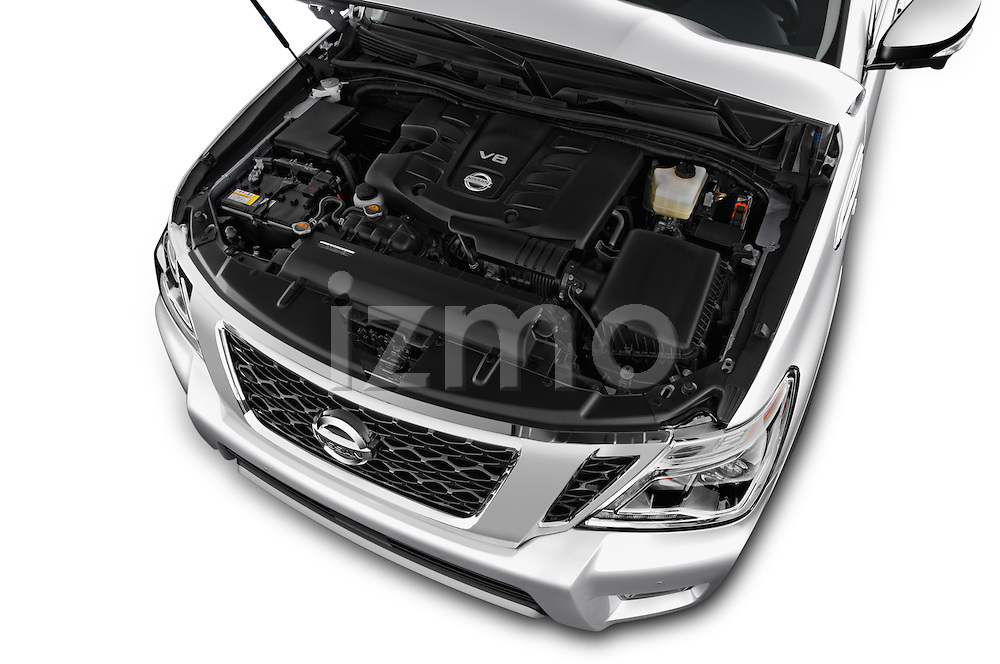 Car Stock 2018 Nissan Armada Platinum 5 Door SUV Engine  high angle detail view