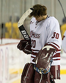 Kevin Moore (UMass - 30) - Sweden's Under-20 team played its last game on this Massachusetts tour versus the University of Massachusetts-Amherst Minutemen losing 5-1 on Saturday, November 6, 2010, at the Mullins Center in Amherst, Massachusetts.