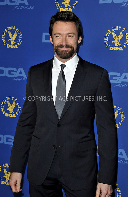 WWW.ACEPIXS.COM......February 2, 2013, Los Angeles, CA.....Hugh Jackman arriving at the 65th annual Directors Guild Of America Awards at The Ray Dolby Ballroom on February 2, 2013 in Hollywood, California.........By Line: Peter West/ACE Pictures....ACE Pictures, Inc..Tel: 646 769 0430..Email: info@acepixs.com