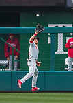 28 April 2016: Philadelphia Phillies outfielder David Lough pulls in a fly ball during a game against the Washington Nationals at Nationals Park in Washington, DC. The Phillies shut out the Nationals 3-0 to sweep their mid-week, 3-game series. Mandatory Credit: Ed Wolfstein Photo *** RAW (NEF) Image File Available ***