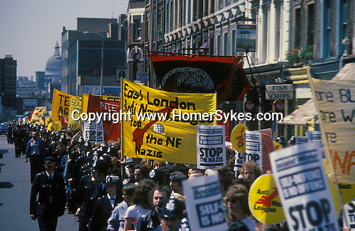 Anti Nazi league demonstration against racism, march through east London. England 1978.