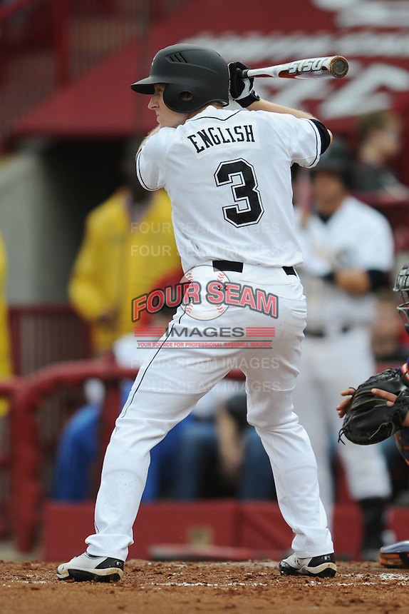 Left Fielder Tanner English #3 of the South Carolina Gamecocks awaits a pitch during a game against the South Carolina Gamecocks at Carolina Stadium on March 3, 2012 in Columbia, South Carolina. The Gamecocks defeated the Tigers 9-6. Tony Farlow/Four Seam Images.
