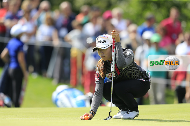 Mi Hyang Lee (KOR) on the 13th green during Sunday's Final Round of the LPGA 2015 Evian Championship, held at the Evian Resort Golf Club, Evian les Bains, France. 13th September 2015.<br /> Picture Eoin Clarke | Golffile