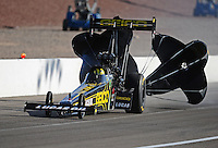 Mar. 31, 2012; Las Vegas, NV, USA: NHRA top fuel dragster driver Morgan Lucas during qualifying for the Summitracing.com Nationals at The Strip in Las Vegas. Mandatory Credit: Mark J. Rebilas-US PRESSWIRE