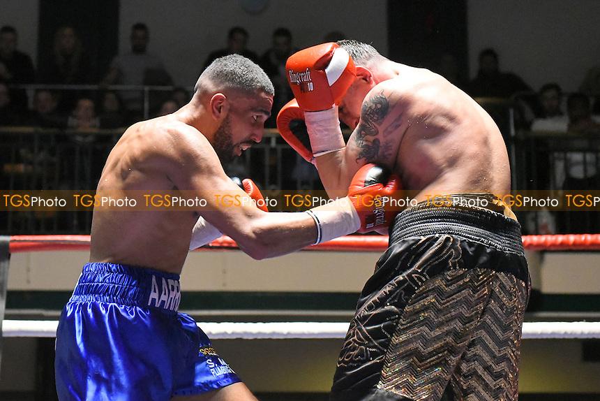 Aaron Morgan (blue shorts) defeats Kevin McCauley during a Boxing Show at York Hall, Bethnal Green