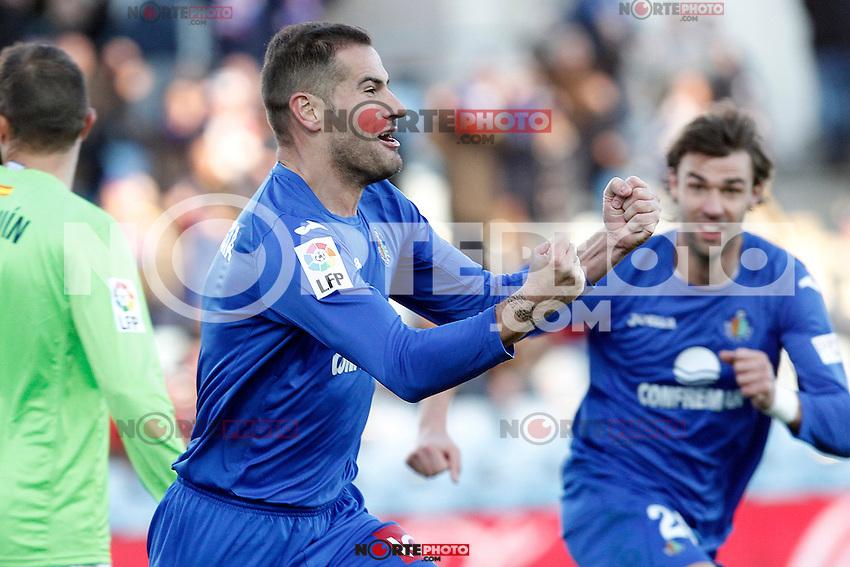 Getafe's Alberto Lopo (l) and Juan Valera celebrate goal during La Liga match.December 01,2012. (ALTERPHOTOS/Acero) ©/NortePhoto