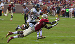 FSU defensive back Terrance Brooks dives for an interception that fell incomplete off his fingertips when the #2 ranked Florida State Seminoles defeated the Idaho Vandals 80-14 at Doak S Campbell Stadium in Tallahassee, Florida.