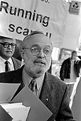 Dr.Richard Stone, the Bayswater GP whose concern over the number of empty Westminster council flats he saw on his rounds sparked the initial investigation into the 'Homes for Votes' affair, speaks outside Westminster City Hall on the day of the District Auditor's final report.