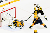 June 5th 2017, Nashiville, TN, USA;  Pittsburgh Penguins center Sidney Crosby (87) scores past Nashville Predators goalie Pekka Rinne (35) during game 4 of the 2017 NHL Stanley Cup Finals between the Pittsburgh Penguins and Nashville Predators