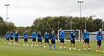 Rangers players line up at training