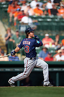 Minnesota Twins center fielder Joe Benson (43) at bat during a Spring Training game against the Baltimore Orioles on March 7, 2016 at Ed Smith Stadium in Sarasota, Florida.  Minnesota defeated Baltimore 3-0.  (Mike Janes/Four Seam Images)