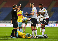 Bolton Wanderers' Marc Wilson is shown a yellow card by referee Jeremy Simpson <br /> <br /> Photographer Andrew Kearns/CameraSport<br /> <br /> The EFL Sky Bet Championship - Bolton Wanderers v Rotherham United - Wednesday 26th December 2018 - University of Bolton Stadium - Bolton<br /> <br /> World Copyright &copy; 2018 CameraSport. All rights reserved. 43 Linden Ave. Countesthorpe. Leicester. England. LE8 5PG - Tel: +44 (0) 116 277 4147 - admin@camerasport.com - www.camerasport.com