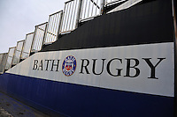 A general view of Bath Rugby branding on the players' tunnel. Aviva Premiership match, between Bath Rugby and Worcester Warriors on February 9, 2013 at the Recreation Ground in Bath, England. Photo by: Patrick Khachfe / Onside Images
