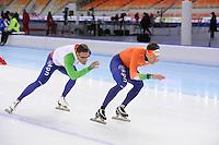 SPEEDSKATING: SOCHI: Adler Arena, 20-03-2013, Training, Kjeld Nuis (NED), Stefan Groothuis (NED), © Martin de Jong