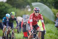 Martin Elmiger (SUI/IAM) on the cobbles of sector 6: Bers&eacute;e (1400m)<br /> <br /> 2014 Tour de France<br /> stage 5: Ypres/Ieper (BEL) - Arenberg Porte du Hainaut (155km)