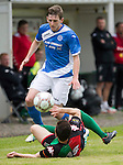 Glentoran v St Johnstone&hellip;. 09.07.16  The Oval, Belfast  Pre-Season Friendly<br />Blair Alston is tackled by a Glentoran trialist<br />Picture by Graeme Hart.<br />Copyright Perthshire Picture Agency<br />Tel: 01738 623350  Mobile: 07990 594431
