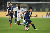 February 1st 2019; Adu Dhabi, United Arab Emirates; Asian Cup football final, Japan versus Qatar; Takumi Minamino (R) of Japan vies with Salem Al Hajri of Qatar