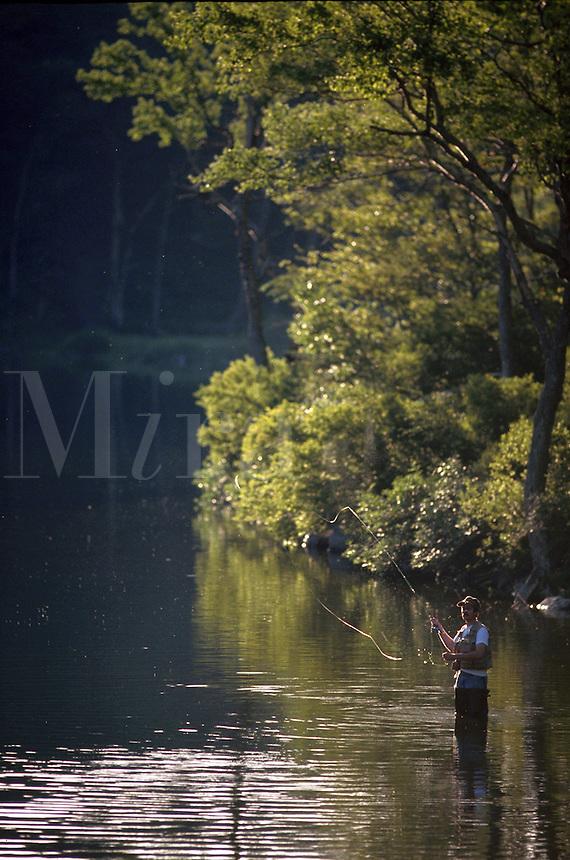 A fisherman fly fishing.