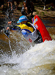 June 4, 2016 - Lyons, Colorado, U.S. -  Swedish junior kayaker, Hugo Wrendendal, initiates a forward roll in the Black Bear Hole on the South Saint Vrain River during freestyle competition at the Lyons Outdoor Games, Lyons, Colorado.