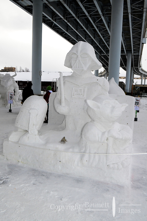 After a week of work on a variety of themes, the Rondy snow sculptures, a highlight of the 2013 Anchorage, Alaska, Fur Rendezvous, are ready for judging.