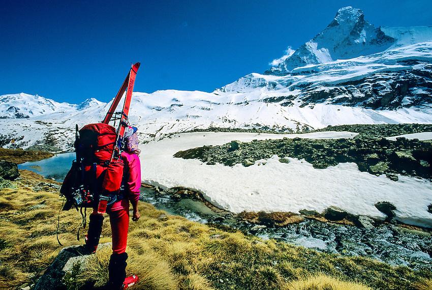 Walking to Schoenbiel Hut (Matterhorn in background), Haute Route, Switzerland