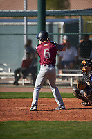 William Burbank (6) of Monsignor Kelly Catholic High School in Beaumont, Texas during the Baseball Factory All-America Pre-Season Tournament, powered by Under Armour, on January 14, 2018 at Sloan Park Complex in Mesa, Arizona.  (Zachary Lucy/Four Seam Images)