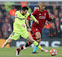 Liverpool's Fabinho is tackled by Barcelona's Lionel Messi<br /> <br /> Photographer Rich Linley/CameraSport<br /> <br /> UEFA Champions League Semi-Final 2nd Leg - Liverpool v Barcelona - Tuesday May 7th 2019 - Anfield - Liverpool<br />  <br /> World Copyright © 2018 CameraSport. All rights reserved. 43 Linden Ave. Countesthorpe. Leicester. England. LE8 5PG - Tel: +44 (0) 116 277 4147 - admin@camerasport.com - www.camerasport.com