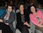 Marie Usher, Anne Flynn and Fidelma Keogh pictured at the Carmel Boyle concert in the Droichead Arts Centre. Photo:Colin Bell/pressphotos.ie