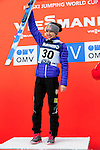 HOLMENKOLLEN, OSLO, NORWAY - March 17: Sarah Hendrickson of USA (USA) during the prize giving ceremony of the Ladies FIS Ski Jumping World Cup from the large hill HS 134 Holmenkollbakken on March 17, 2013 in Oslo, Norway. 1st place Sarah Hendrickson of USA (USA), 2nd place Sara Takanashi of Japan (JPN) and 3rd place Jacqueline Seifriedsberger of Austria (AUT). (Photo by Dirk Markgraf)