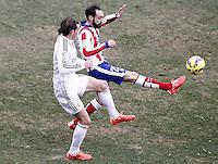 Atletico de Madrid's Juanfran Torres (r) and Real Madrid's Garet Bale during La Liga match.February 7,2015. (ALTERPHOTOS/Acero) /NORTEphoto.com