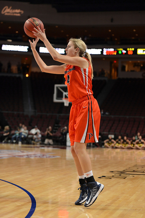 March 6, 2013; Las Vegas, NV, USA; Pepperdine Waves guard Grace Leah Baughn (4) shoots the ball against the San Francisco Dons during the second half of the WCC Basketball Championships at Orleans Arena.