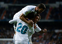 Real Madrid's Marco Asensio, Nacho Fernandez and Marcelo Vieira celebrate goal  and UD Las Palmas'  during La Liga match. November 5,2017. (ALTERPHOTOS/Inma Garcia)