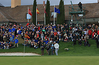 Nacho Elvira (ESP) on the 18th green during Round 4 of the Open de Espana 2018 at Centro Nacional de Golf on Sunday 15th April 2018.<br /> Picture:  Thos Caffrey / www.golffile.ie<br /> <br /> All photo usage must carry mandatory copyright credit (&copy; Golffile | Thos Caffrey)