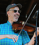 Matt Glaser, of Fiddle Fever, perform ing in the Toshi Seeger stage on Hoot Hill, on the third-and-final day of the 4th Annual Summer Hoot Festival, held at the Ashokan Center in Olivebridge, NY, on Sunday, August 28, 2016. Photo by Jim Peppler; Copyright Jim Peppler 2016.