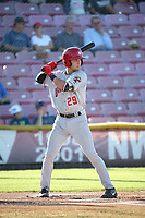 Logan Warmoth (29) of the Vancouver Canadians bats against the Salem-Keizer Volcanoes at Volcanoes Stadium on July 24, 2017 in Keizer, Oregon. Salem-Keizer defeated Vancouver, 4-3. (Larry Goren/Four Seam Images)