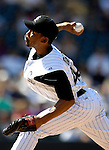 26 August 2007:  Colorado Rockies pitcher Ramon Ortiz in action against the Washington Nationals at Coors Field in Denver, Colorado. The Rockies defeated the Nationals 10-5 to sweep the 3-game series...Mandatory Photo Credit: Ed Wolfstein Photo
