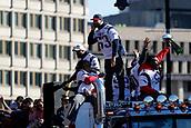 5th February 2019, Boston, Massachusetts, USA;  New England Patriots linebacker Kyle Van Noy (53) asks the crowd for noise during the New England Patriots Super Bowl Victory Parade on February 5th 2019, through the streets of Boston, Massachusetts.