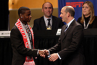First overall pick in the MLS SuperDraft, Maurice Edu of Toronto FC shakes hands with MLS Commissioner Don Garber during the first round of the MLS SuperDraft at the Indiana Convention Center, Indianapolis, IA, on Jan 12, 2007.