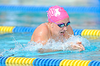 5 November 2011:  FIU's Elly James competes in the 200 yard breaststroke as the FIU Golden Panthers won the meet with the Florida Atlantic University Owls and Florida Southern Moccasins at the Biscayne Bay Campus Aquatics Center in Miami, Florida.