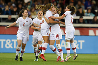 San Jose, CA - Sunday November 12, 2017: Janine Beckie scores and celebrates with her teammates during an International friendly match between the Women's National teams of the United States (USA) and Canada (CAN) at Avaya Stadium.