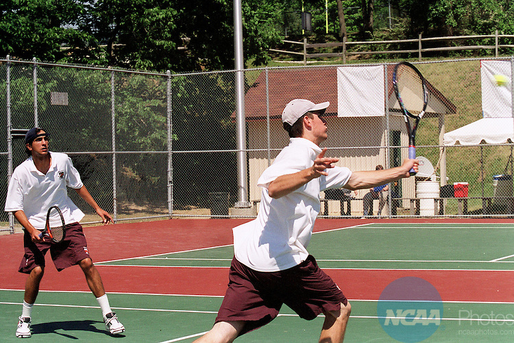 23 May 2001:   Ed Rahn (L) and Sloan Rush (R) of Trinity (Texas) in action during the 2001 Division 3 Men's Tennis Championships' Doubles Final  held at DePauw University in Greencastle, IN. Derek Fitzpatrick and Nick Cunningham won the doubles championship.© Marilyn Culler / NCAA Photos